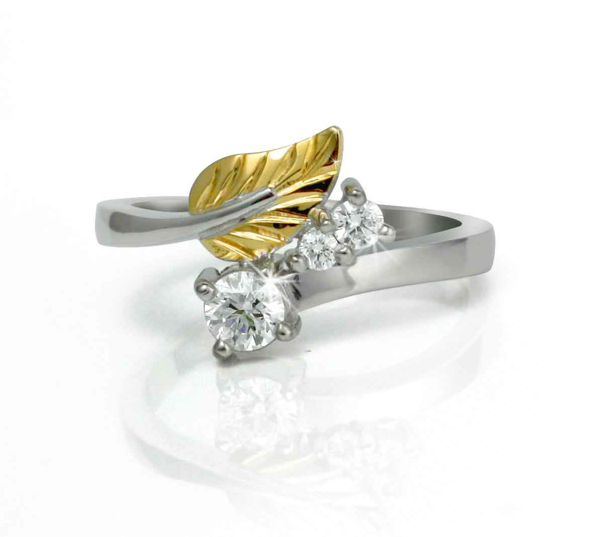 and leaves rings engagement gia design unique certified ring diamond leaf gold white media
