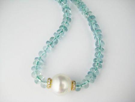 aquamarine, beads, pearl, necklace, rondelles, gold