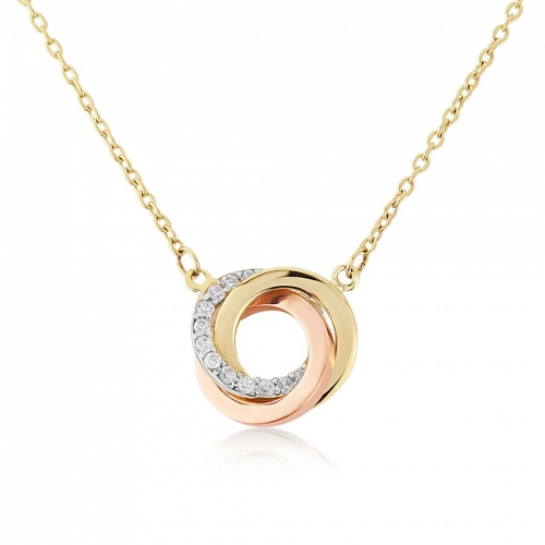 9ct Three Colour Cubic Zirconia Swirl Necklace