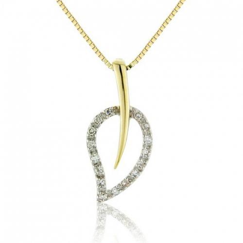 9ct Yellow Gold Diamond Leaf Pendant On Chain.