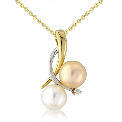 9ct Yellow Gold Diamond and Multi-Colour Pearl Pendant set