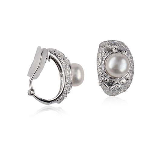 Sterling silver pearl and cz clip on earrings