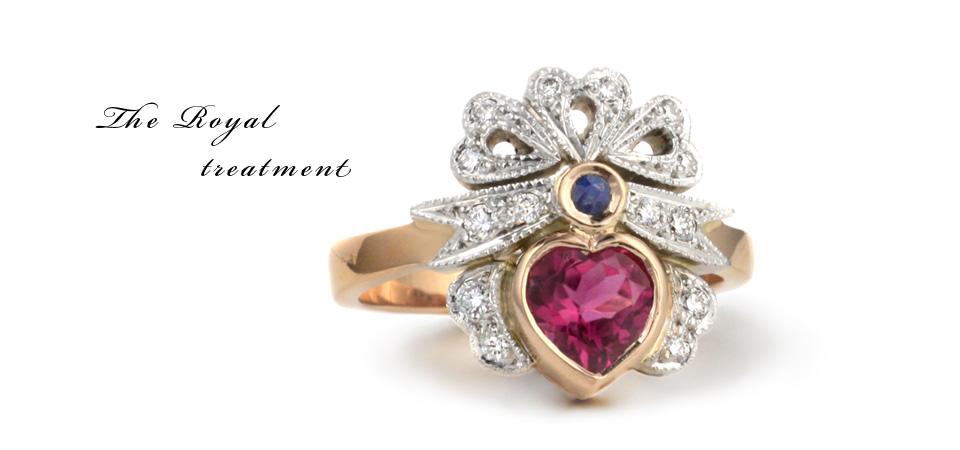 pink heart diamond ring antique