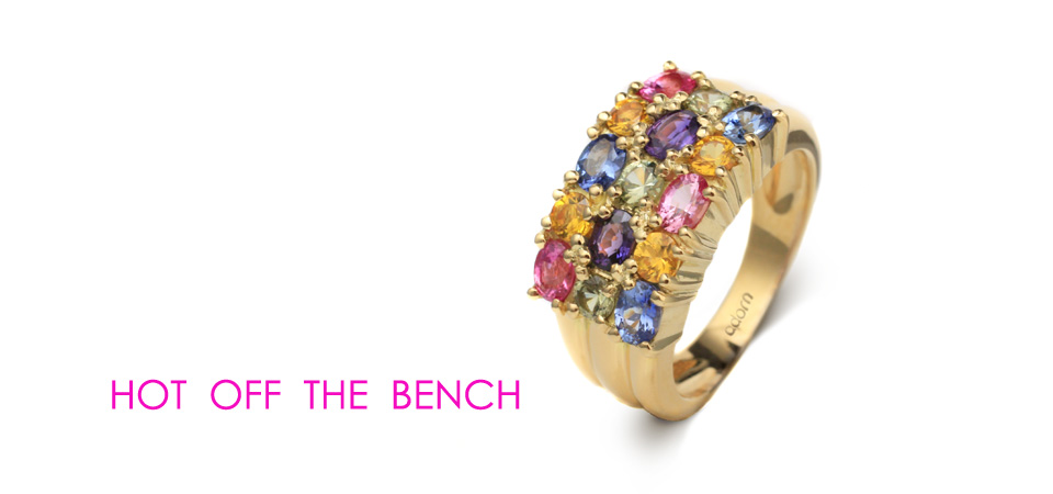 sapphire claw set ring pink blue