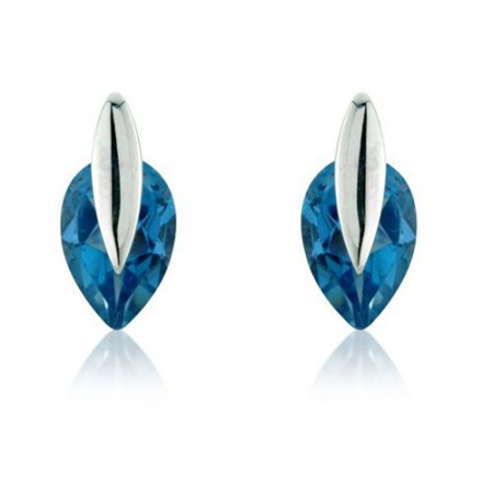 Adorn Jewels new range of Topaz jewellery, London Blue pear shape earrings