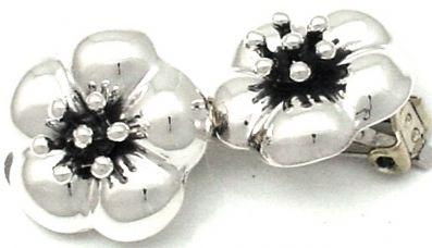 Clip on Earrings, Sterling silver Earrings, Flower clip on