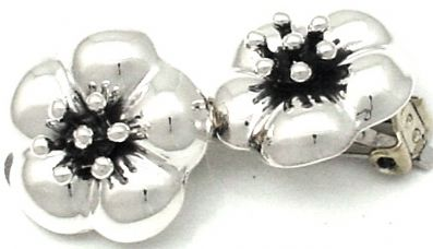 Clip on Earrings, Sterling silver Earrings, Flower clip on
