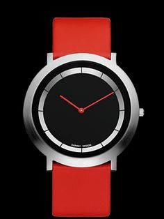 Red watch watchses danish design-red-leather-band-stainless-steel-black-round-face-white hour-segments-red-hands-iv14q988