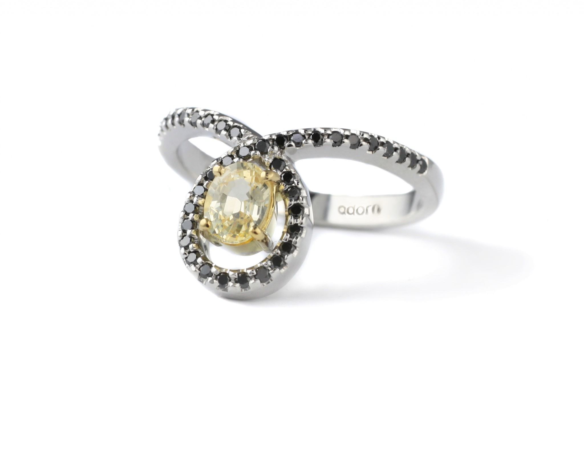black diamonds and yellow sapphire ring hand made adorn jewels adelaide jeweller
