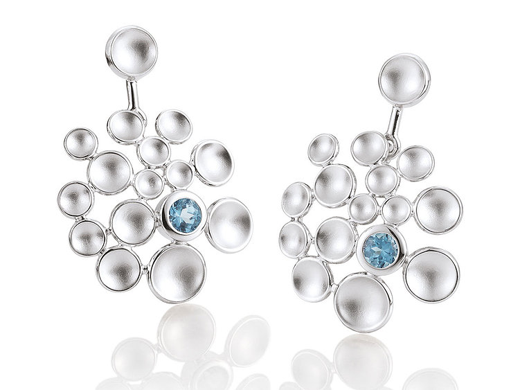 Breuning, blue topaz, circles, earrings