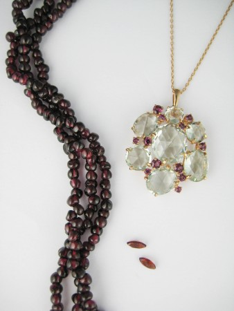 garnet,lime quartz,birthstone,january