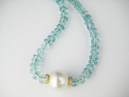 aquamarine, beads, pearl, necklace, rondelles, gold