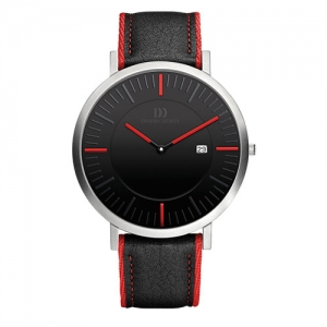 Danish-design-black-face-watch-red-stiched-leather-band--IQ24Q1041