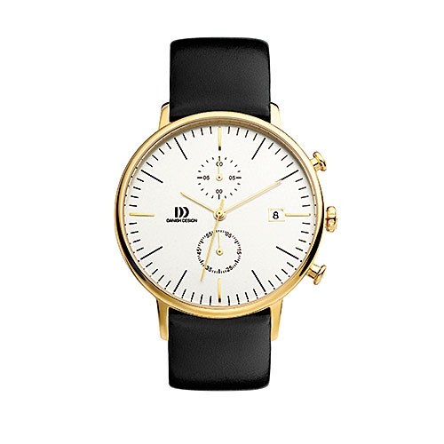 Danish-design-watch-white-face-gold-case-black-strap-vintage-looking-IQ11Q975