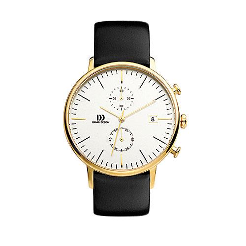 Danish-design-watch-white-face-gold-case-black-strap-vintage-looking-IQ11Q975