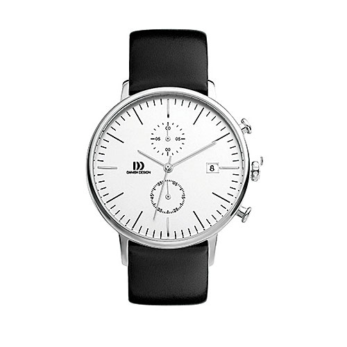 Danish-design-watch-white-face-silver-case-black-strap-vintage-looking-IQ12Q975 chronograph