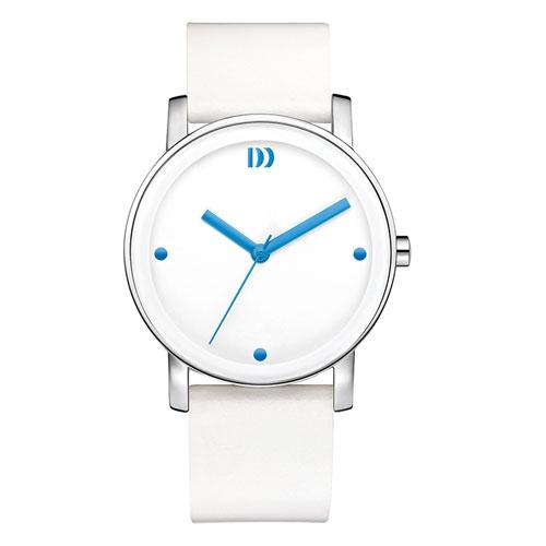Danish-design-white-watch-blue-hands-leather-strap-IV22Q1049