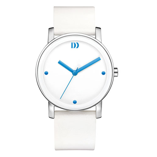 Danish-design-white-watch-blue-hands-leather-strap-IV22Q1049
