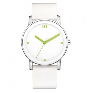 Danish-design-white-watch--green--hands-leather-strap-IV28Q1049