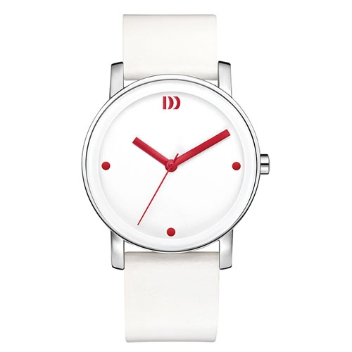 Danish-design-white-watch--red--hands-leather-strap-IV24Q1049