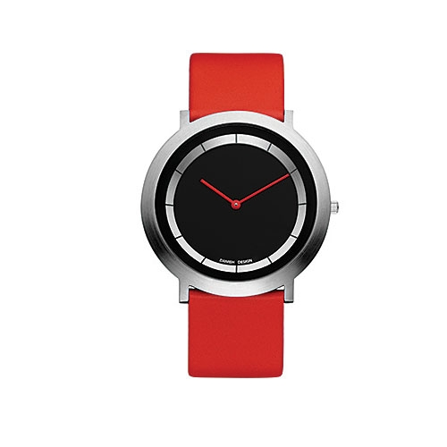 Danish-design-red-leather-strap-black-face-IV14Q988