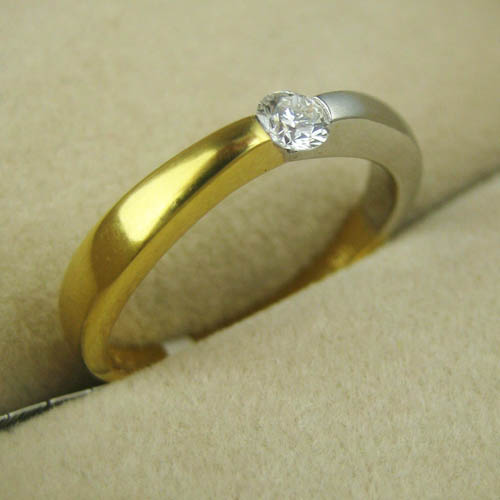 Two Tone Simple Design Ring Adorn Jewels Wedding Engagement