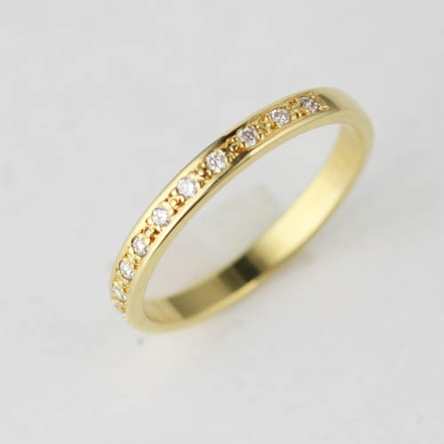 18ct yellow gold diamond set plain wedding ring classic Adorn Jewels Online Jewellery Australia