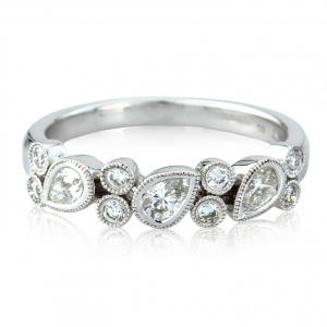 pear diamonds rond white gold rings onlin jewellery store Adorn Jewels b