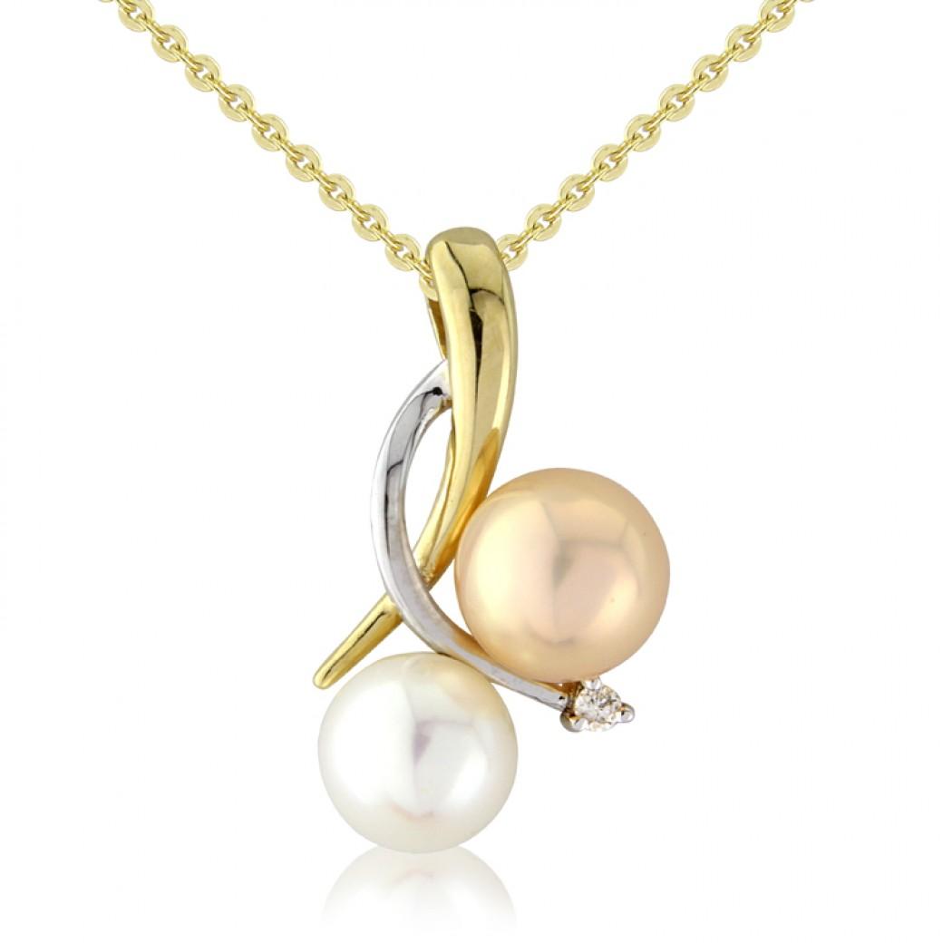 9ct Yellow Gold Diamond And Multi Colour Pearl Pendant Set Adorn