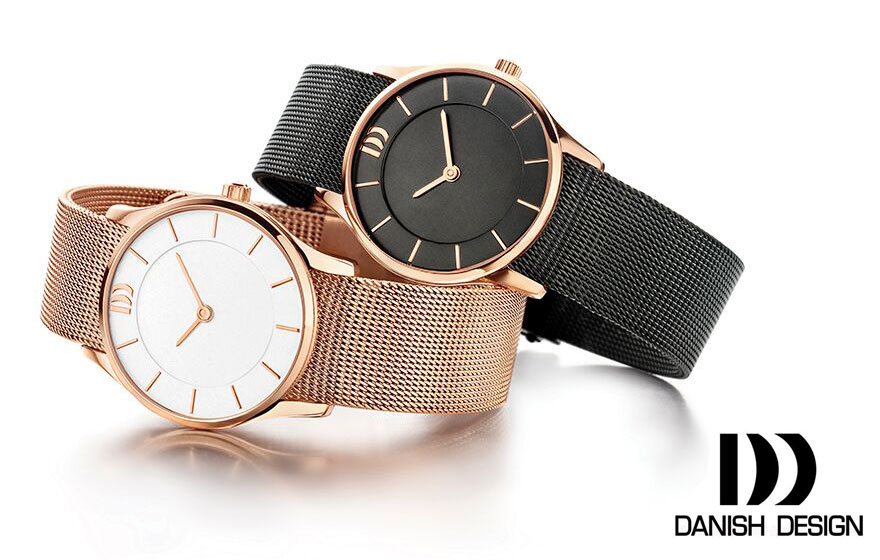Danish-Design-Watches-Mesh-style-leather-strap-adorn-Jewels-online-jewellery-jewels-rose-gold-black