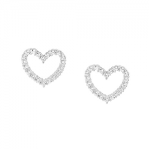 Ellani collections Silver Cubic Zirconia Earrings E403 Adorn Jewels online Jewellery Jewelry Australia Adelaide heart