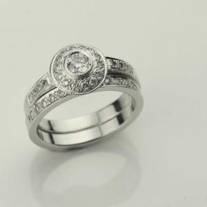 diamond set engagment ring Adorn Jewels Adelaide South Australia online jeweller halo set diamond
