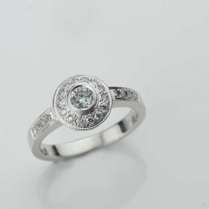 diamond set engagment ring Adorn Jewels milgrain handmande Adelaide South Australia online jeweller halo set diamond