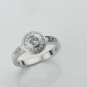 diamond set engagment ring Adorn Jewels milgrain handmande Adelaide South Australia online jeweller halo set diamond