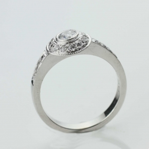 diamond set engagment ring Adorn Jewels millgrain Adelaide South Australia online jeweller halo set diamond