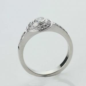 diamond set engagment ring Adorn Jewels millgrain Adelaide South Australia online jeweller halo set diamond