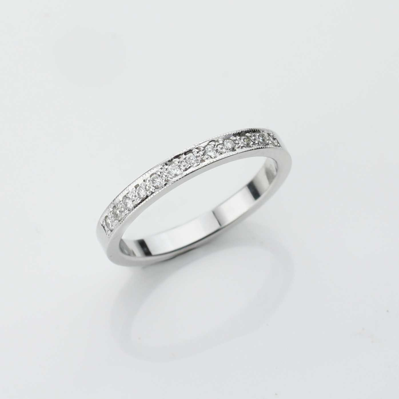 18ct white gold hand made wedding ring Vintage Adorn Jewels
