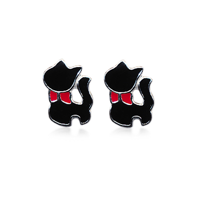 adorn-jewels-online-jeweller-jewelry-silver-kid-children-earrings-black-cat-kitten-red-bow